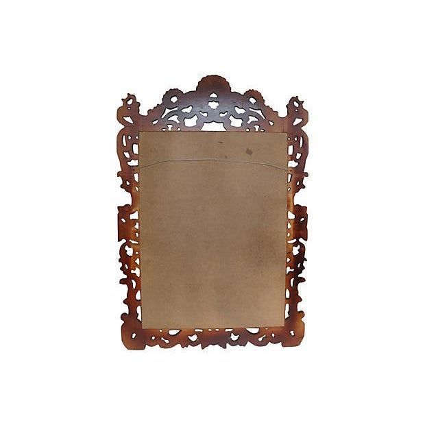 """Grand 53"""" Rococo Carved Crest Lacquer Mirror For Sale In Richmond - Image 6 of 6"""