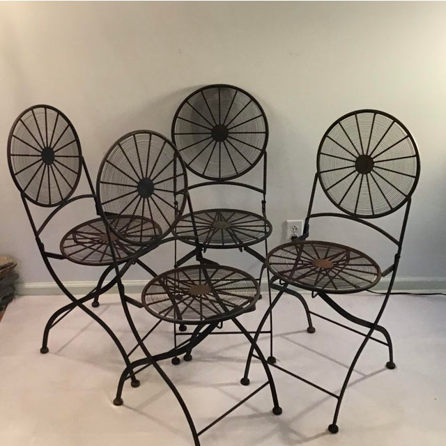 1960s Vintage Wrought Iron Pinwheel Bistro Style Folding Chair- Set of 4 For Sale - Image 13 of 13