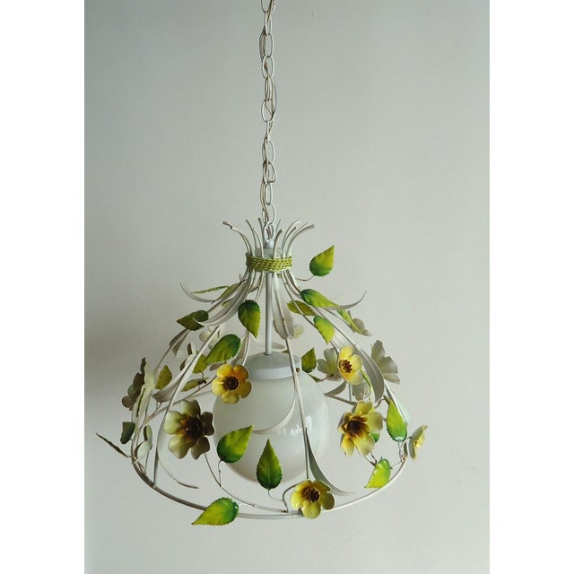 Mid-Century Italian Tole Light Fixture with Yellow Flowers - Image 3 of 6
