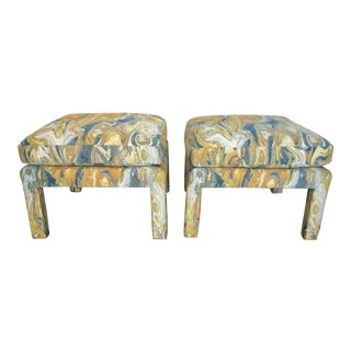 1990s Vintage Oversized Milo Baughman Parsons Benches With Lee Jofa Fabric - a Pair For Sale