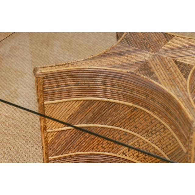 Brown Elegant Vintage Bamboo Coffee Table For Sale - Image 8 of 11