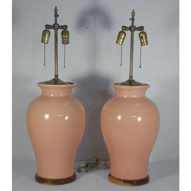 Mid-Century Peach Crackle Glaze Pottery Jar Table Lamps - a Pair For Sale - Image 13 of 13