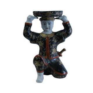 Oriental Vintage Ceramic Black Golden Flower Man Holding Dish Figure For Sale