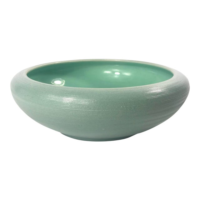 Vintage Mid-Century Sea Foam Green Red Wing Pottery Bowl For Sale