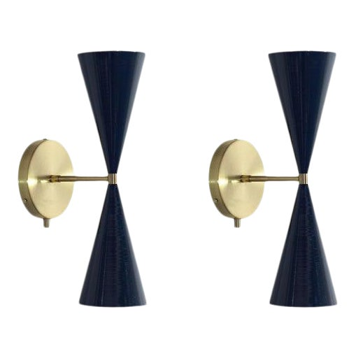 "Brass & Midnight Enamel ""Tuxedo"" Wall Sconces - a Pair For Sale"
