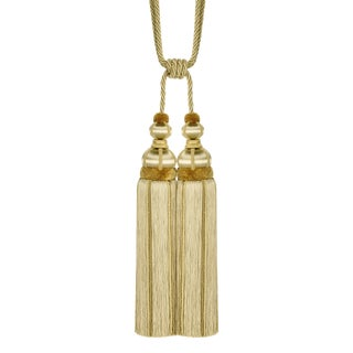 Gold Double Tassel Tieback With Cut Ruche - H 17 Inches For Sale