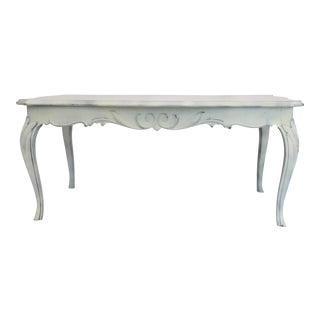 1930s Victorian Antique White Handcarved Wood Coffee Table
