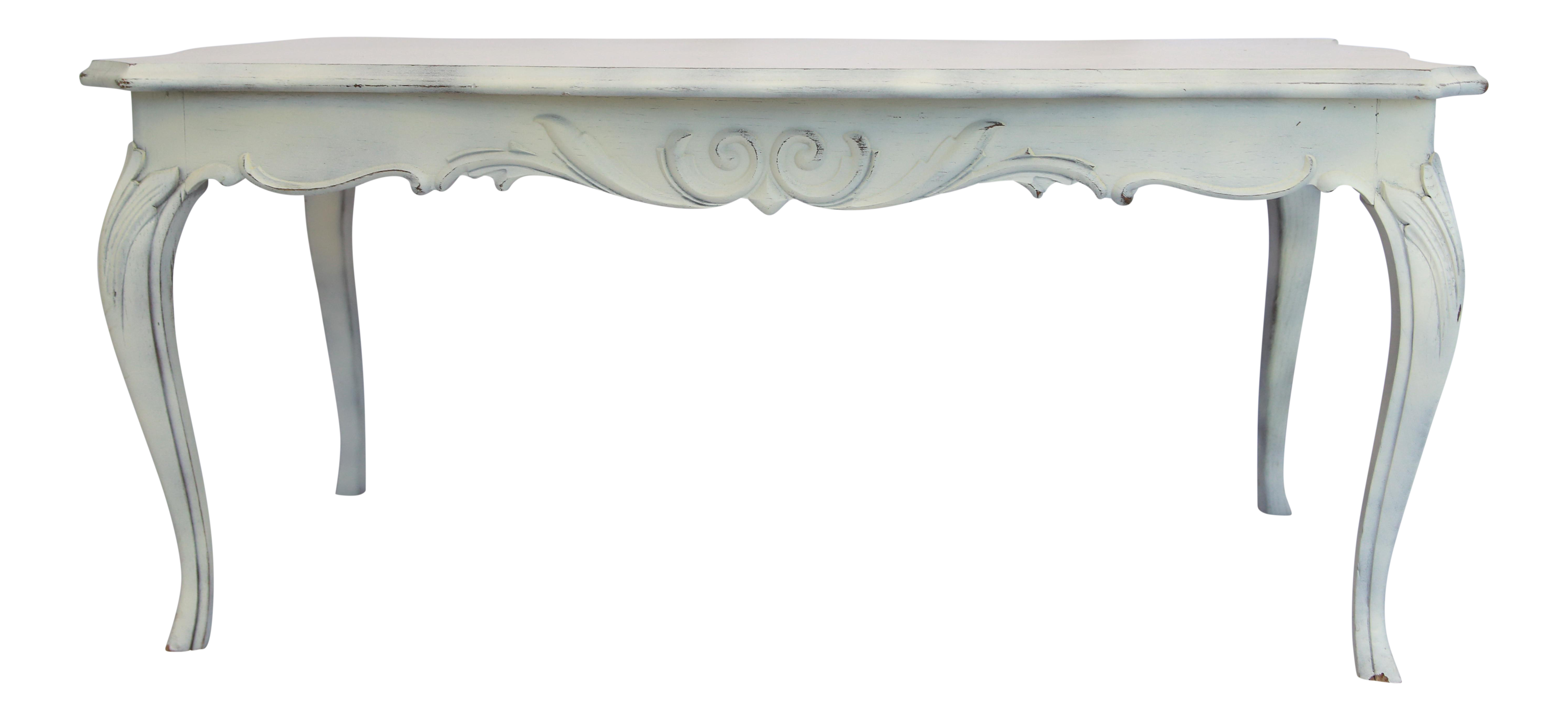 Lovely 1930s Victorian Antique White Handcarved Wood Coffee Table For Sale