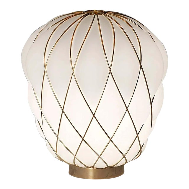 Medium 'Pinecone' Table Lamp in Opaline Glass & Gold Metal for Fontana Arte For Sale