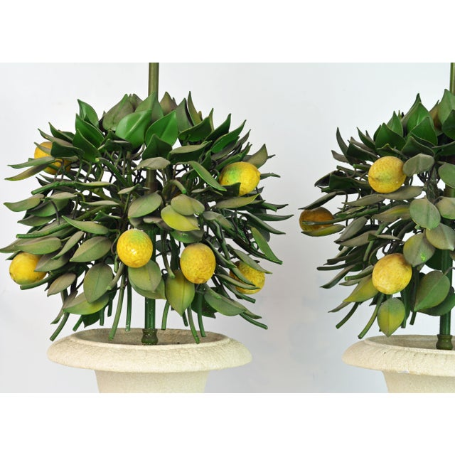 White Pair of Vintage Italian Painted Tole Lemon Bush Lamps in Cast Stone Urns For Sale - Image 8 of 13