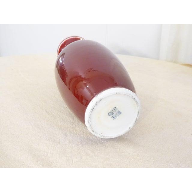Modern Vintage Chinese Ox Blood Porcelain Vase For Sale - Image 3 of 4