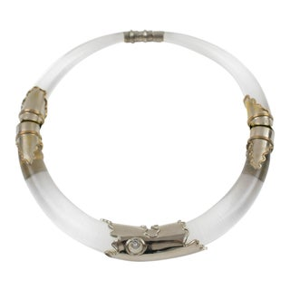 Silvered Metal and Lucite Futurist Dog Collar Necklace For Sale