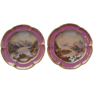 Early 19th Century Antique Pair of Hand-Painted English Compotes - A Pair For Sale