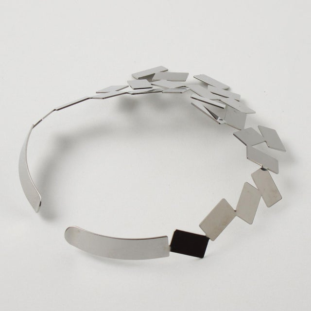 Silver Mario Trimarchi for Alessi Stainless Steel Futurist Collar Necklace For Sale - Image 8 of 10