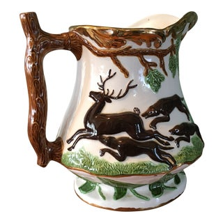 Antique Horse Hunting Stag Scene Majolica Pitcher For Sale