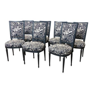 Painted French Louis XVI Square Back Dining Chairs - Set of 7