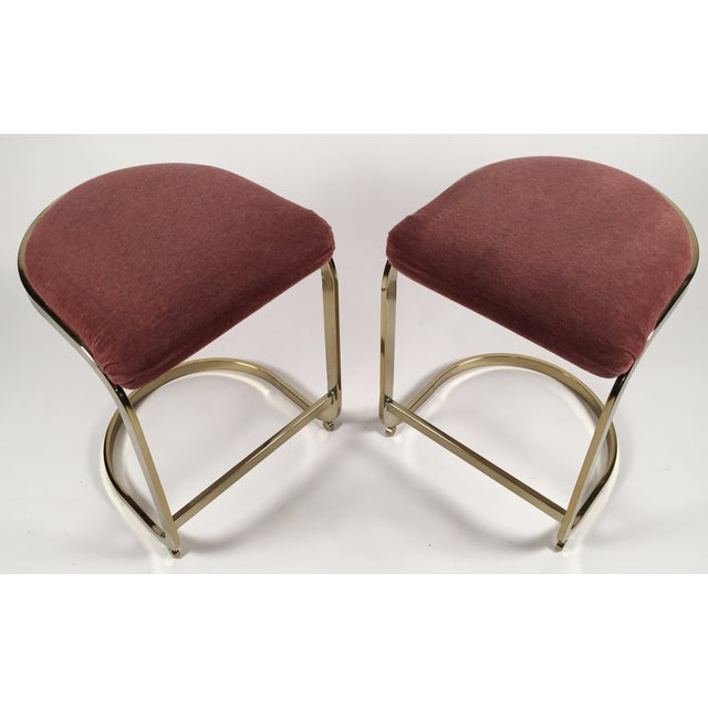 Milo Baughman Style Cantilever Bar Stools - A Pair For Sale - Image 5 of 7