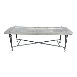 Vintage Boho Chic Silver Metal Coffee Table For Sale