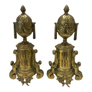 Pair of French Cast Brass Andirons and Fender For Sale