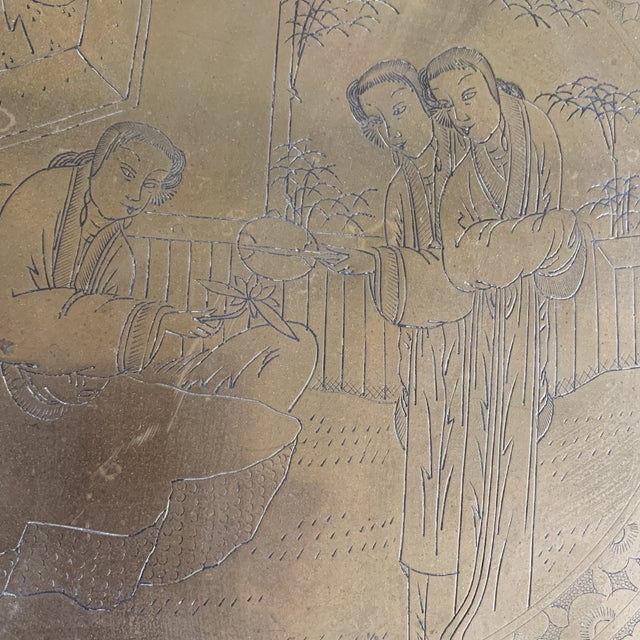 Midcentury Asian Chinoiserie Brass Etched Tray For Sale - Image 10 of 13