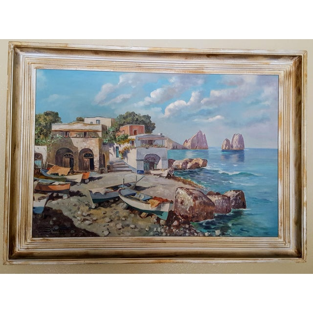 Blue 1960s Italian Coastal Oil Painting on Masonite by Guiseppe Salvati For Sale - Image 8 of 9