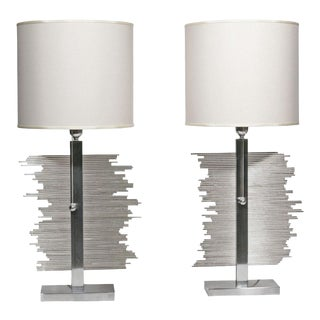 Italian Nickel Table Lamps - A Pair For Sale