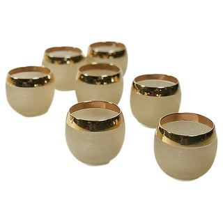 Gold Rim Etched Roly Poly Glasses, S/7 For Sale