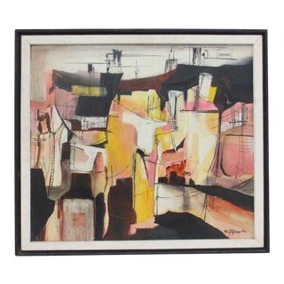 """Maryn Hunzeker """"The Refinery"""" Mixed Media Abstract Painting C.1950 For Sale"""