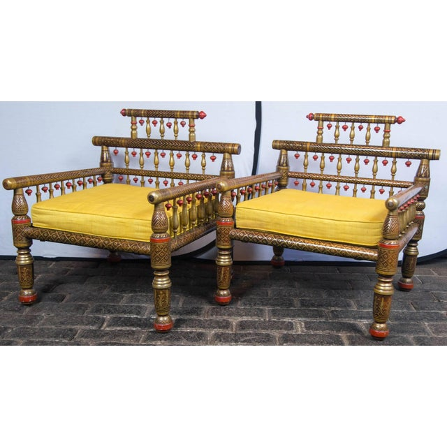 Anglo-Indian 1970s Vintage Anglo-Indian Style Decorative Armchairs- a Pair For Sale - Image 3 of 19