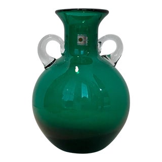Vintage Blenko Blown Glass Emerald Vase Carafe For Sale