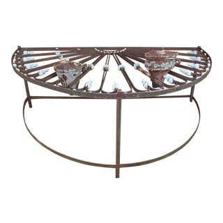 19th Century Mid-French Iron Fan Light Converted Table For Sale