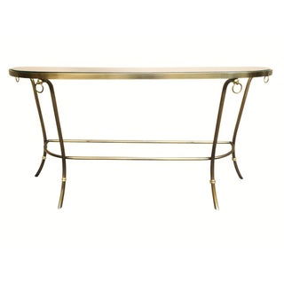1986 Design Institute of America Brushed Nickel & Glass Console Table Preview