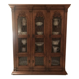 1970s Transitional Wooden Breakfront Cabinet For Sale