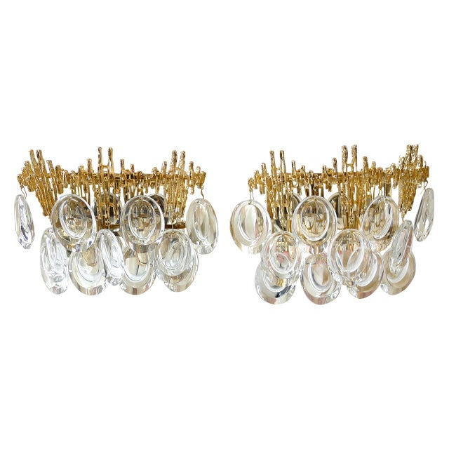 Pair of Gilt Brass & Crystal Brutalist Sconces by Palwa - Image 4 of 4