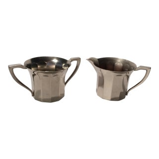Edison Hotpoint Silver Plated Cream & Sugar Set For Sale