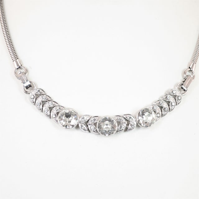 Art Deco Art Deco Engel Brothers Rhodium Sterling & Crystal Necklace 1930s For Sale - Image 3 of 13