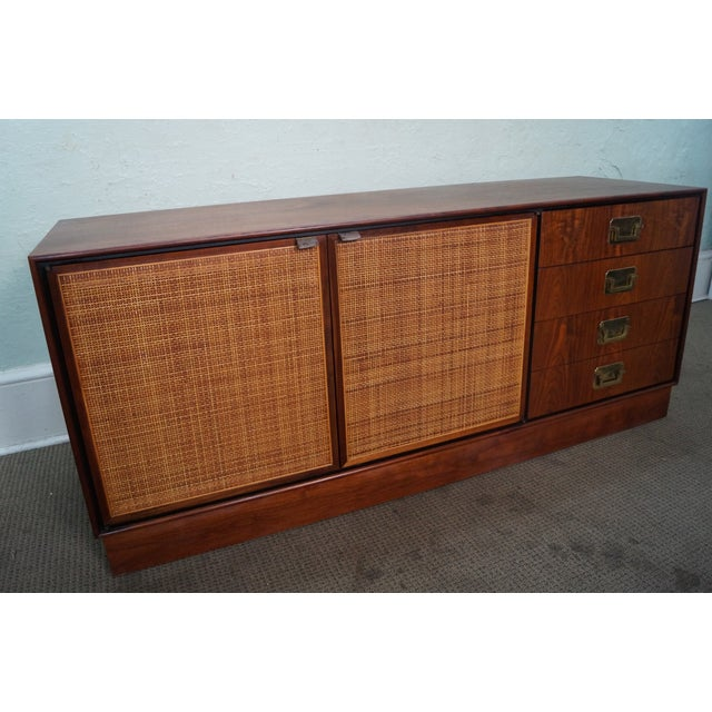 Mid-Century Modern Walnut Cane Door Credenza withDrawers For Sale - Image 10 of 10