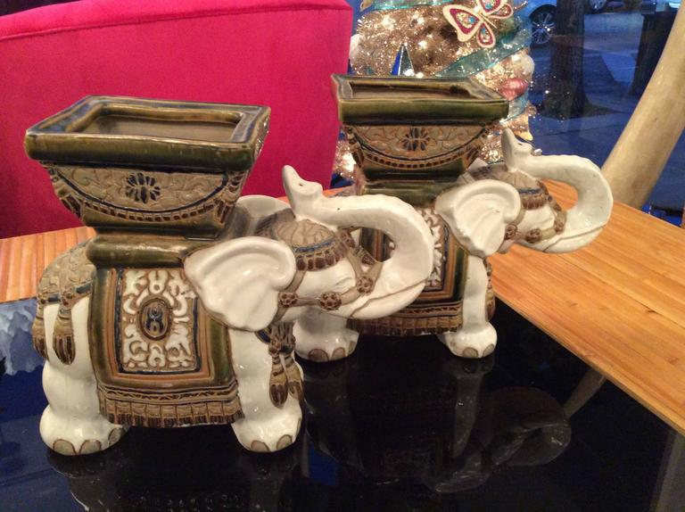 Ceramic Vintage Terra Cotta Elephant Garden Pots, Planters Stands   A Pair  For Sale