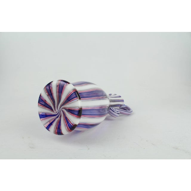 """Blue Venetian or Murano """"a Canne"""" Blue, White, & Pink Italian Glass Ewer or Pitcher For Sale - Image 8 of 11"""