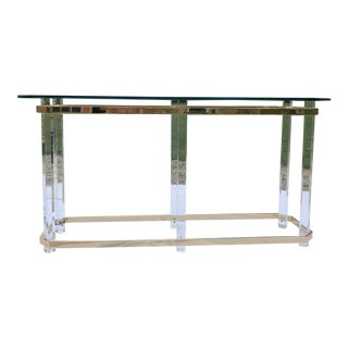 Vintage Charles Hollis Lucite and Brass Console Table For Sale