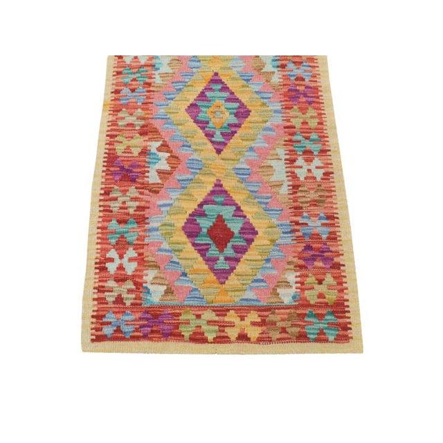 "Afghani Kilim Flatweave Wool Runner Rug Size 1'9""x6'3"" - Image 2 of 4"