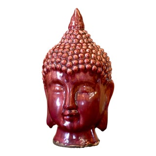 20th Century Chinese Drip Glaze Kwan Yin Guan Buddha Bust Head For Sale