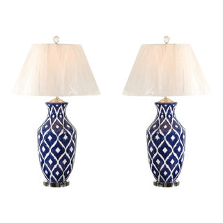 Striking Pair of Large-Scale Ceramic Lamps with Accents of Nickel and Lucite For Sale
