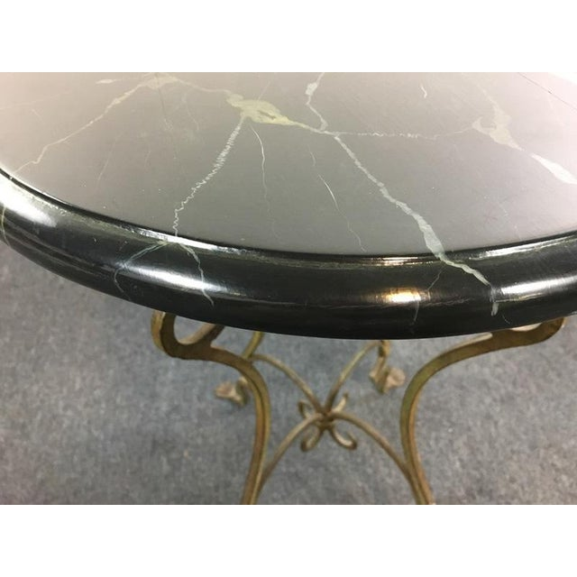 Contemporary Metal Scroll Marble Top End Table - Image 4 of 4