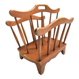 1980s Maple Wood Spindle Magazine Rack For Sale