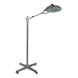 Scialytique French Industrial Surgical Floor Lamp With Pivoting Adjustable Arm For Sale