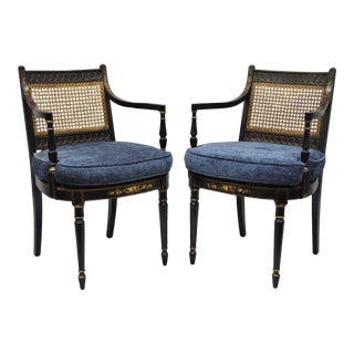 Early 21st Century Antique English Regency Style Black Lacquer Cane Armchairs - a Pair For Sale