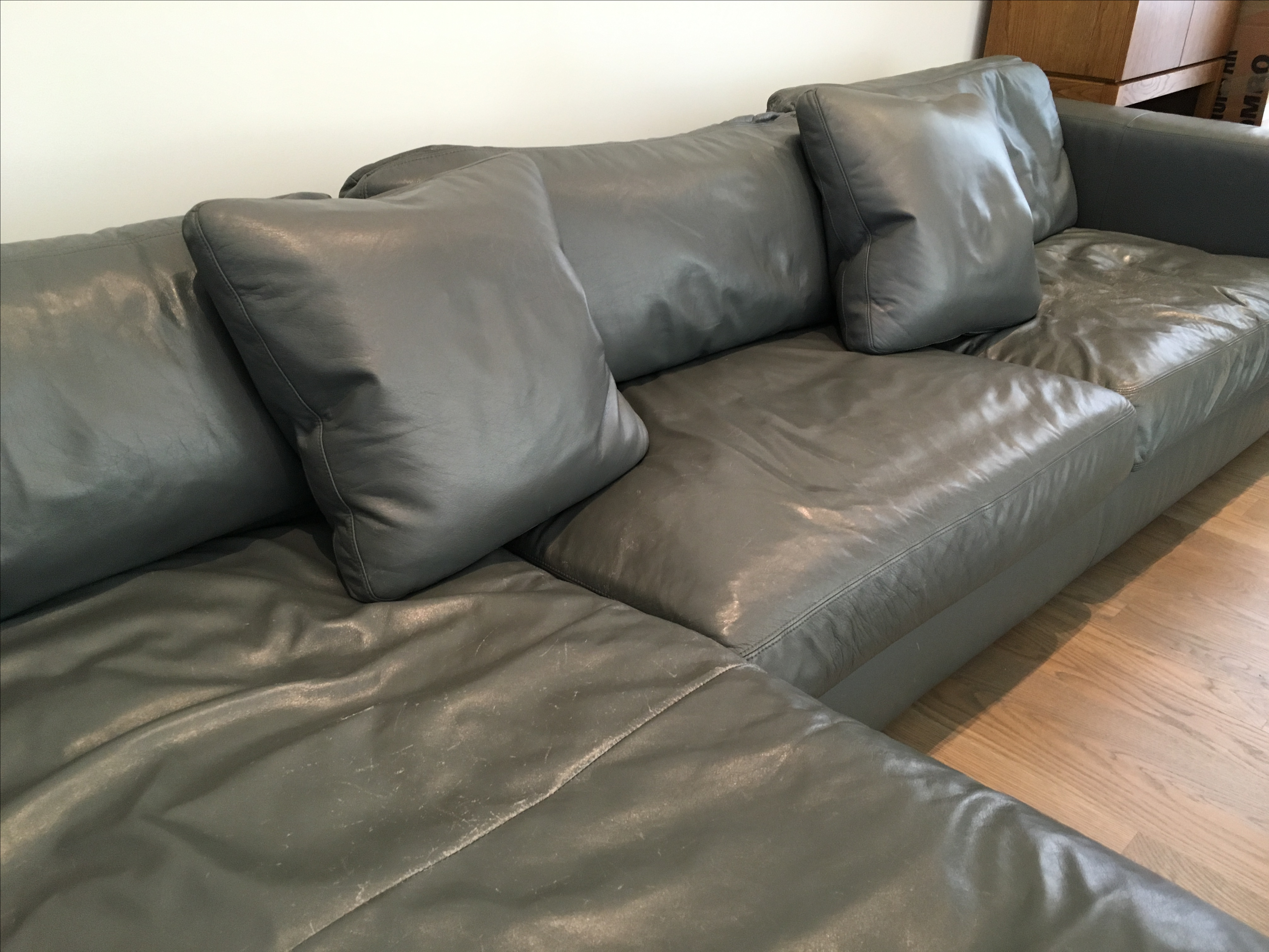 Reid Sectional Chaise In Slate Leather   Image 7 Of 7