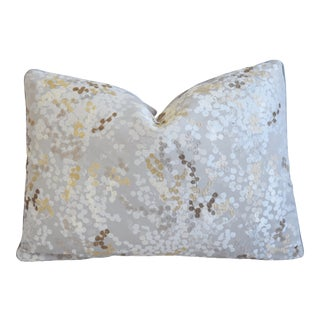 """Colefax Fowler Silk Embroidered Floral Feather/Down Pillow 22"""" X 16"""""""