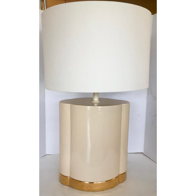 Gold and Beige Ceramic Table Lamp - Image 2 of 7